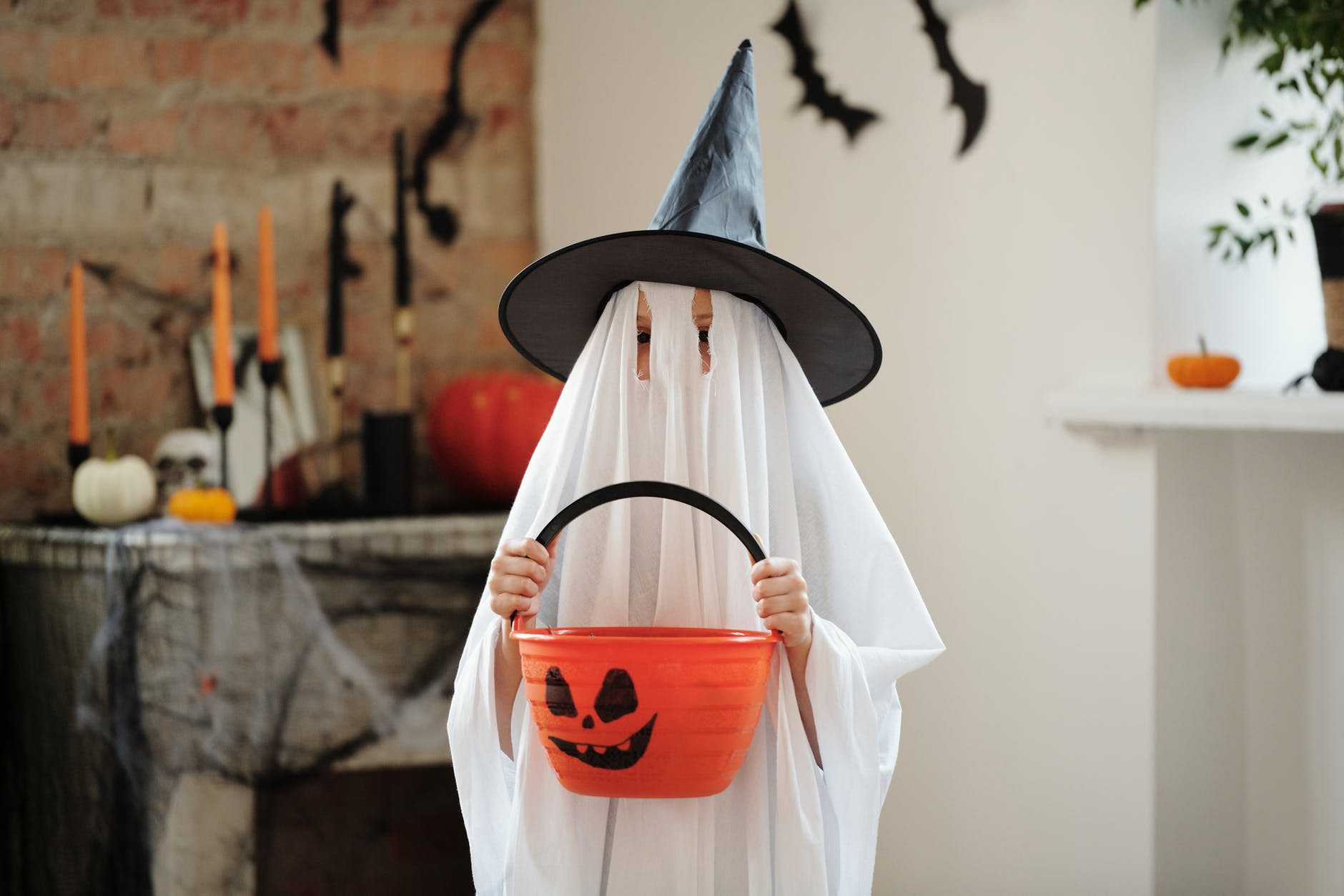 person in a ghost costume
