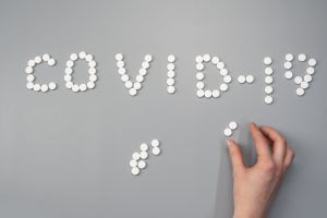 pills on gray background